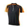 tee shirt sport cycliste femme noir  orange